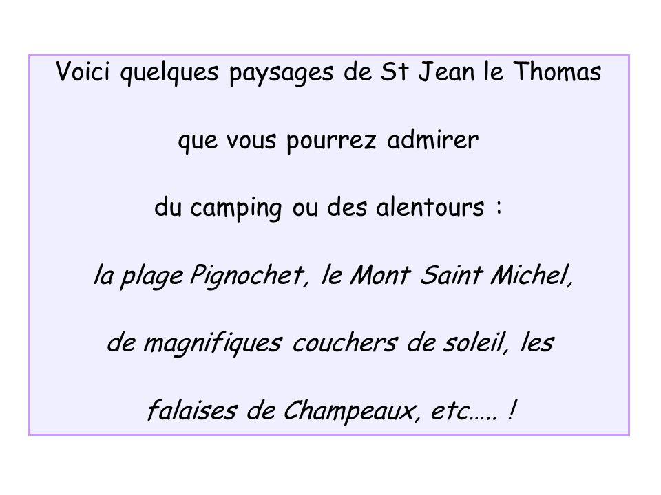 Voici quelques paysages de St Jean le Thomas que vous pourrez admirer du camping ou des alentours : la plage Pignochet, le Mont Saint Michel, de magni
