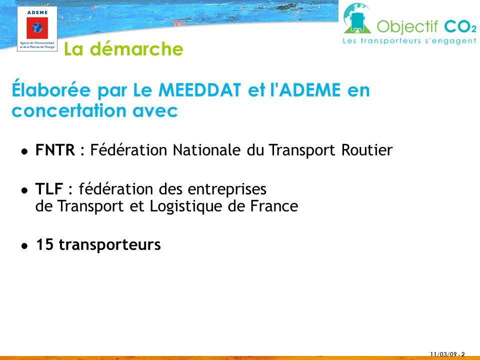 11/03/09 - 2 Élaborée par Le MEEDDAT et l'ADEME en concertation avec FNTR : Fédération Nationale du Transport Routier TLF : fédération des entreprises