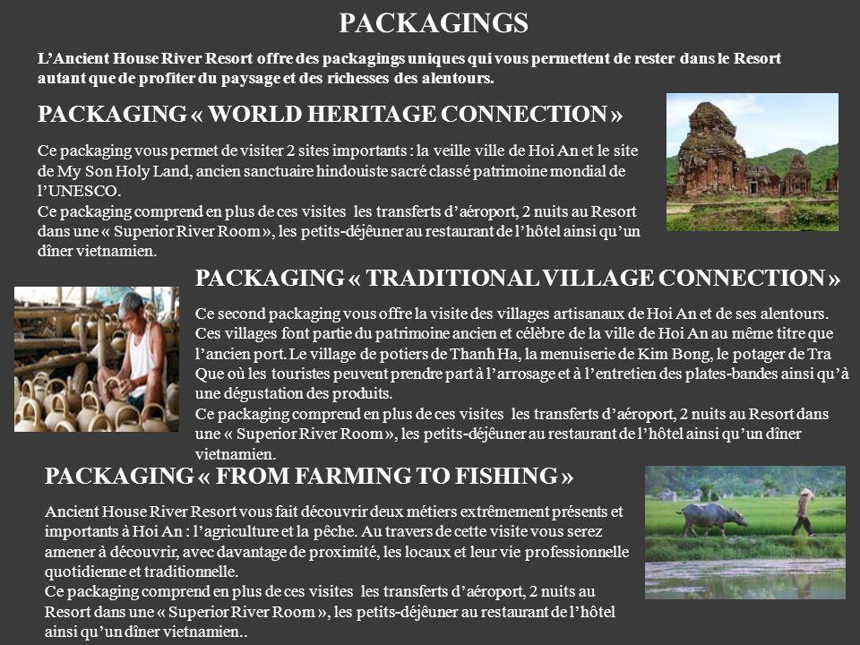 PACKAGINGS LAncient House River Resort offre des packagings uniques qui vous permettent de rester dans le Resort autant que de profiter du paysage et