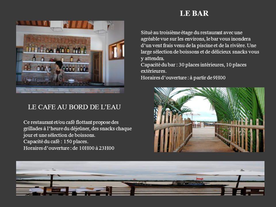 Situé au troisième étage du restaurant avec une agréable vue sur les environs, le bar vous inondera dun vent frais venu de la piscine et de la rivière