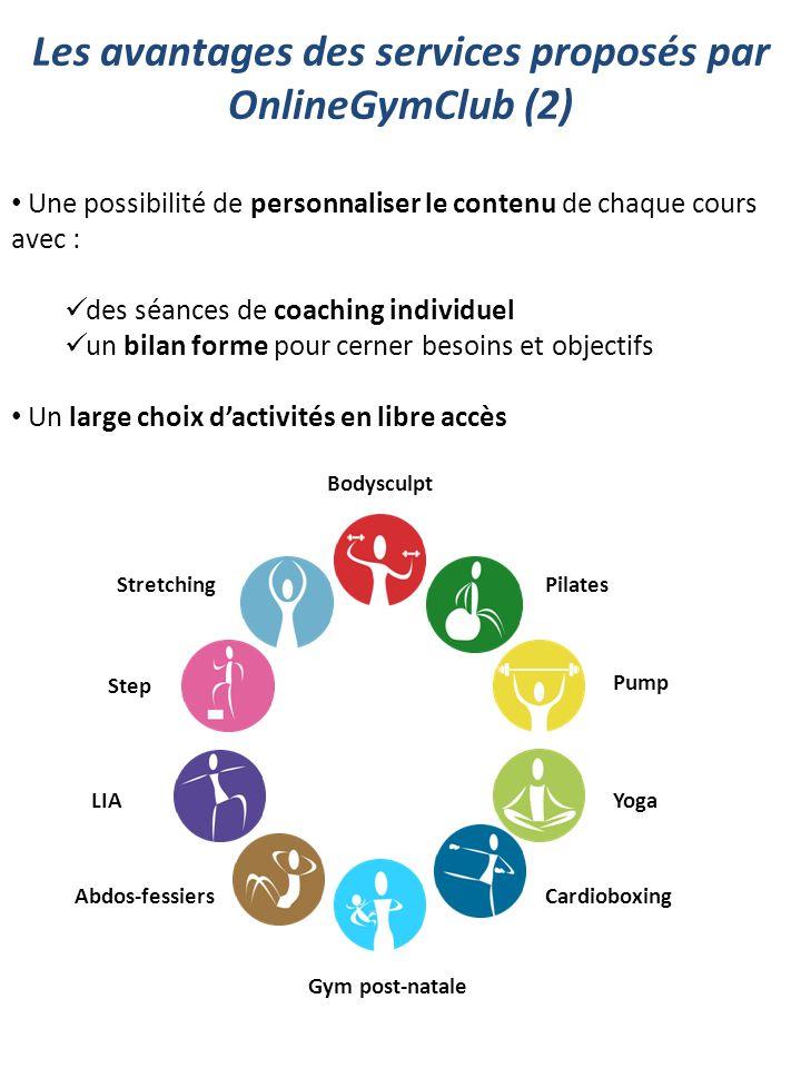 Les avantages des services proposés par OnlineGymClub (2) Bodysculpt LIA Abdos-fessiers Step StretchingPilates Pump Yoga Cardioboxing Gym post-natale