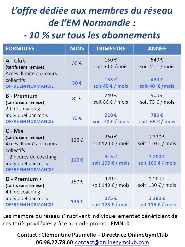 Contact : Clémentine Paumelle – Directrice OnlineGymClub 06.98.22.78.60 contact@onlinegymclub.comcontact@onlinegymclub.com FORMULESMOISTRIMESTREANNEE