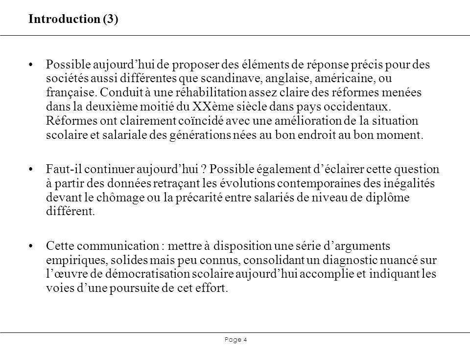 Page 35 Réforme française : synthèse Dans la mesure où les inflexions à la hausse, puis à la baisse de la proportion de cadres et professions intermédiaires à lentrée sur le marché du travail sont bien le reflet des inflexions de la politique éducative, on obtient une évaluation très similaire pour chacune des deux inflexions : un surcroît de 10 points de bacheliers au sein dune cohorte génère un surcroît denviron 3,9 points de cadres ou professions intermédiaires au sein de cette cohorte 4-5 ans après la sortie de lécole.