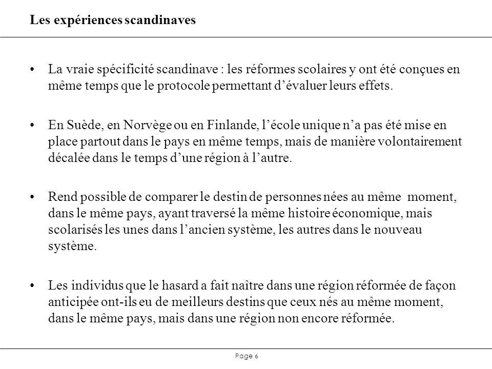 Page 17 France : les grandes étapes de la démocratisation scolaire Réforme française encore plus compliquée à évaluer (pas de NCDS et BCS).