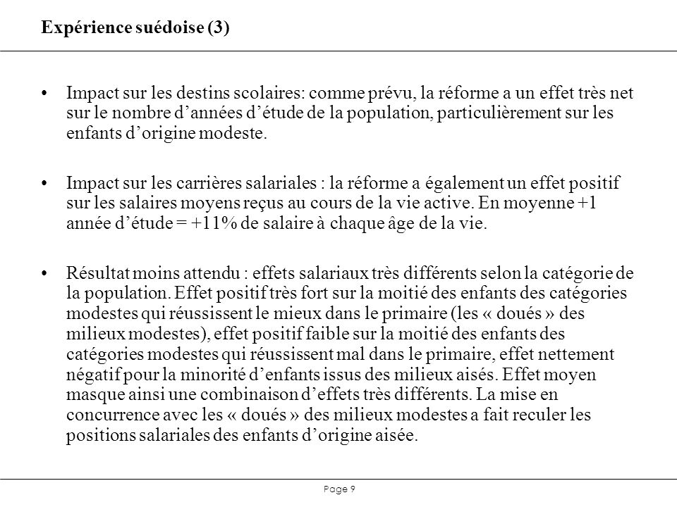 Page 20 Débat difficile à trancher empiriquement Au sein dune cohorte, quel que soit le bon modèle: bonus salarial des diplômés = rendement social+ effet de sélection scolaire.