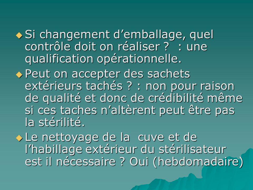 Si changement demballage, quel contrôle doit on réaliser ? : une qualification opérationnelle. Si changement demballage, quel contrôle doit on réalise