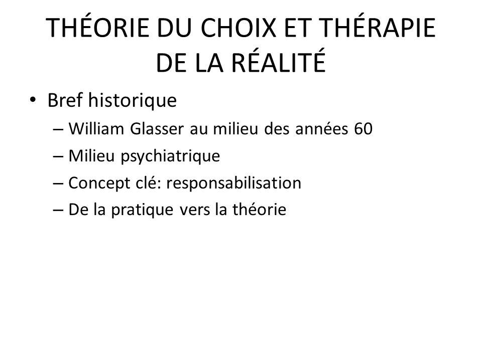 THÉORIE DU CHOIX ET THÉRAPIE DE LA RÉALITÉ Bref historique – William Glasser au milieu des années 60 – Milieu psychiatrique – Concept clé: responsabil