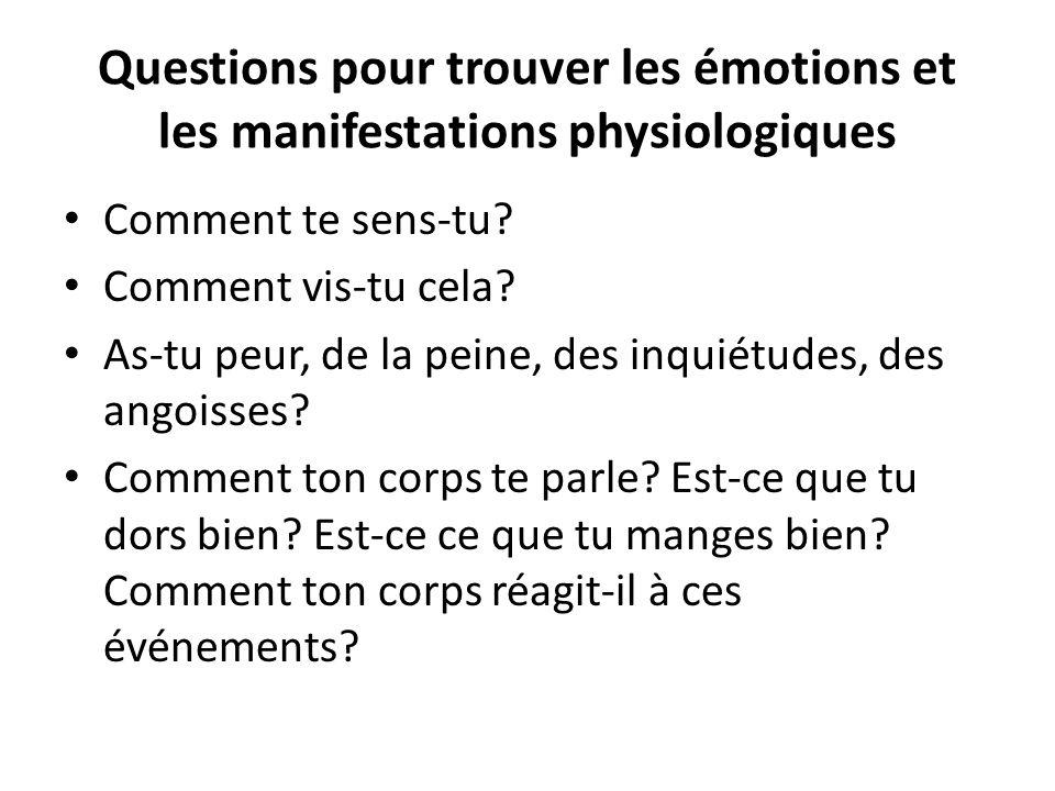 Questions pour trouver les émotions et les manifestations physiologiques Comment te sens-tu? Comment vis-tu cela? As-tu peur, de la peine, des inquiét