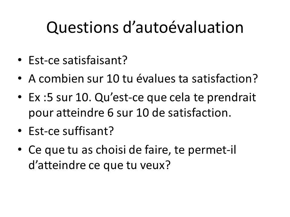 Questions dautoévaluation Est-ce satisfaisant? A combien sur 10 tu évalues ta satisfaction? Ex :5 sur 10. Quest-ce que cela te prendrait pour atteindr