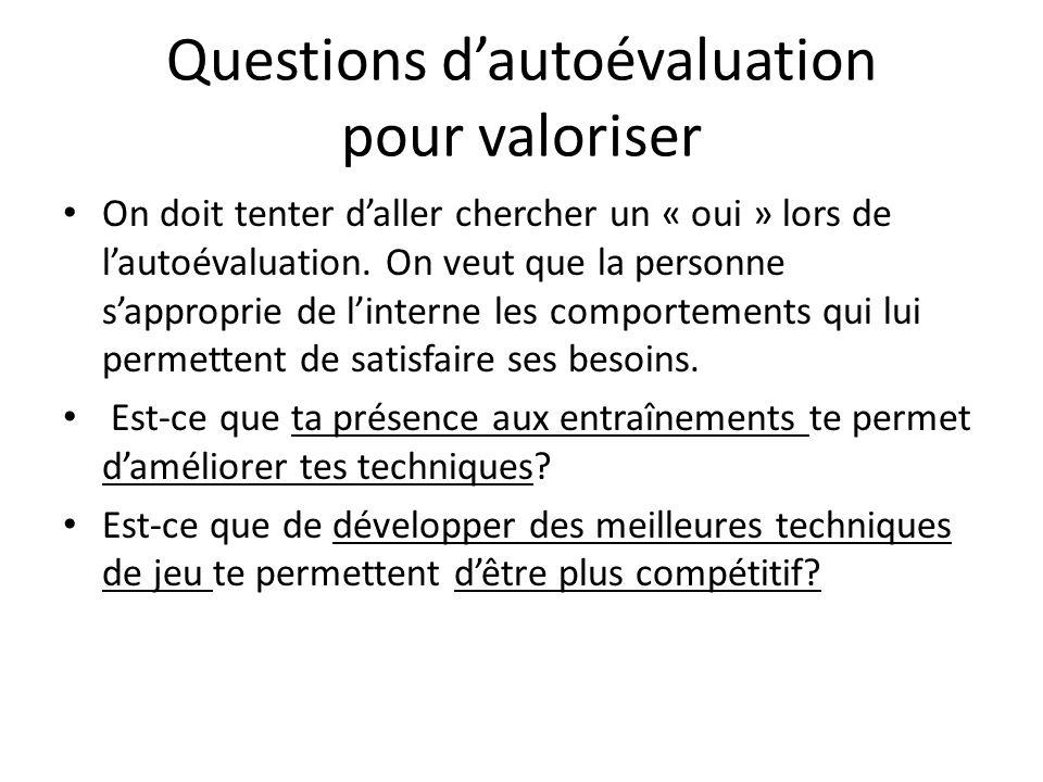 Questions dautoévaluation pour valoriser On doit tenter daller chercher un « oui » lors de lautoévaluation. On veut que la personne sapproprie de lint