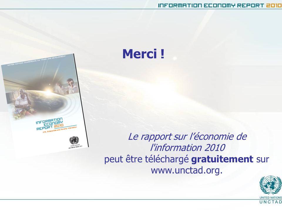 Merci ! Le rapport sur léconomie de l'information 2010 peut être téléchargé gratuitement sur www.unctad.org.