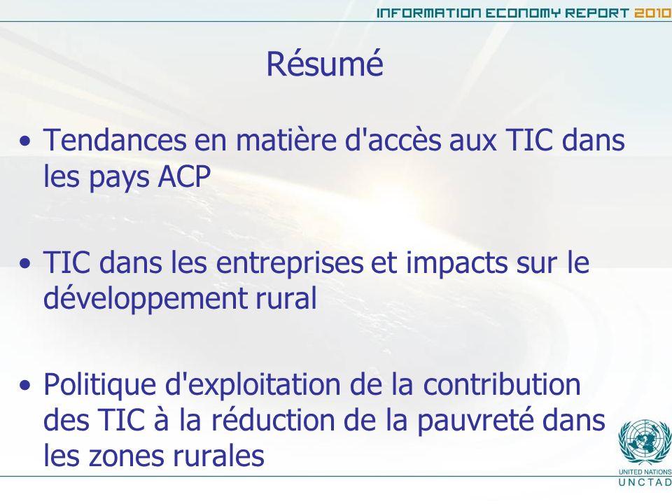 Résumé Tendances en matière d'accès aux TIC dans les pays ACP TIC dans les entreprises et impacts sur le développement rural Politique d'exploitation