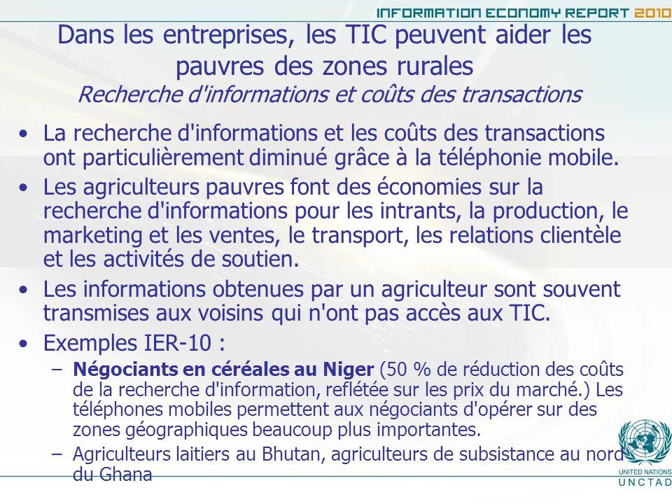 Dans les entreprises, les TIC peuvent aider les pauvres des zones rurales Amélioration de la communication sur la chaîne d approvisionnement Amélioration de la communication au sein des chaînes d approvisionnement et amélioration globale de l efficacité des marchés.