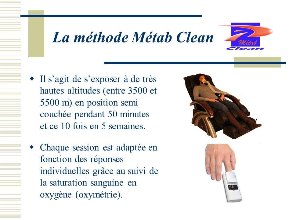 La méthode Métab Clean Il sagit de sexposer à de très hautes altitudes (entre 3500 et 5500 m) en position semi couchée pendant 50 minutes et ce 10 foi