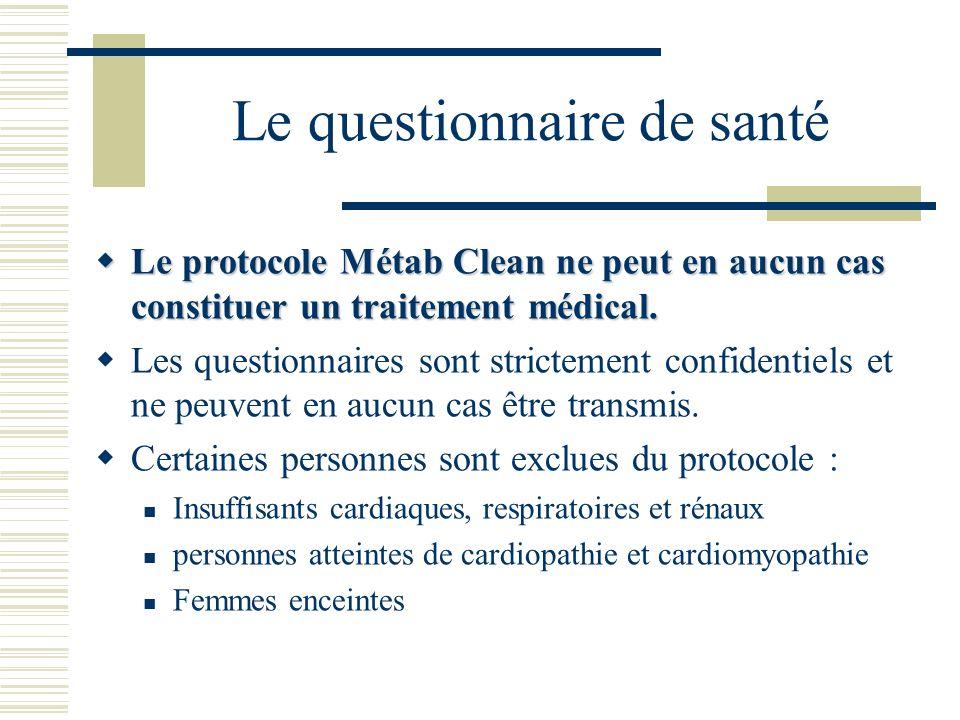 Le questionnaire de santé Le protocole Métab Clean ne peut en aucun cas constituer un traitement médical. Le protocole Métab Clean ne peut en aucun ca