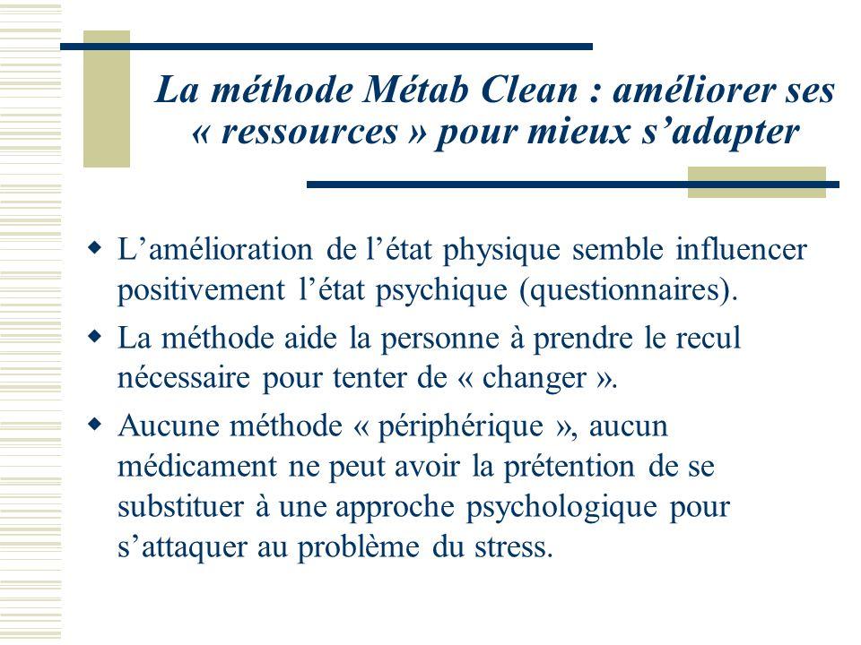 La méthode Métab Clean : améliorer ses « ressources » pour mieux sadapter Lamélioration de létat physique semble influencer positivement létat psychiq