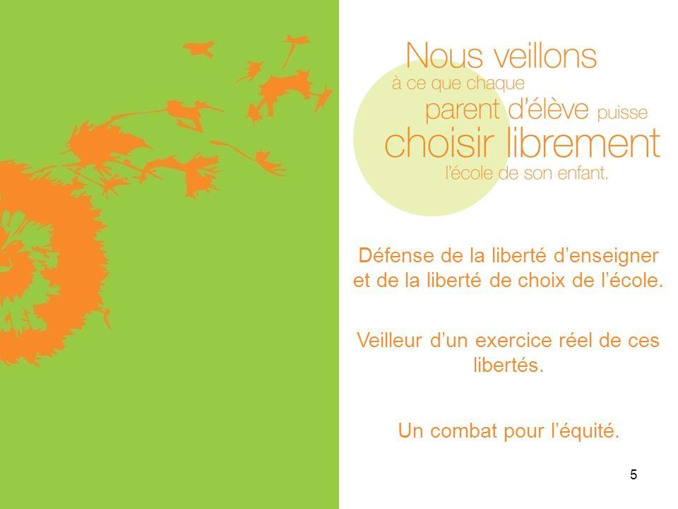 5 Défense de la liberté denseigner et de la liberté de choix de lécole. Veilleur dun exercice réel de ces libertés. Un combat pour léquité.