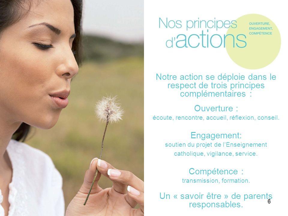 6 Notre action se déploie dans le respect de trois principes complémentaires : Ouverture : écoute, rencontre, accueil, réflexion, conseil. Engagement: