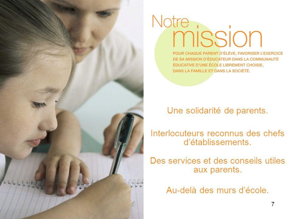 7 Une solidarité de parents. Interlocuteurs reconnus des chefs détablissements. Des services et des conseils utiles aux parents. Au-delà des murs déco