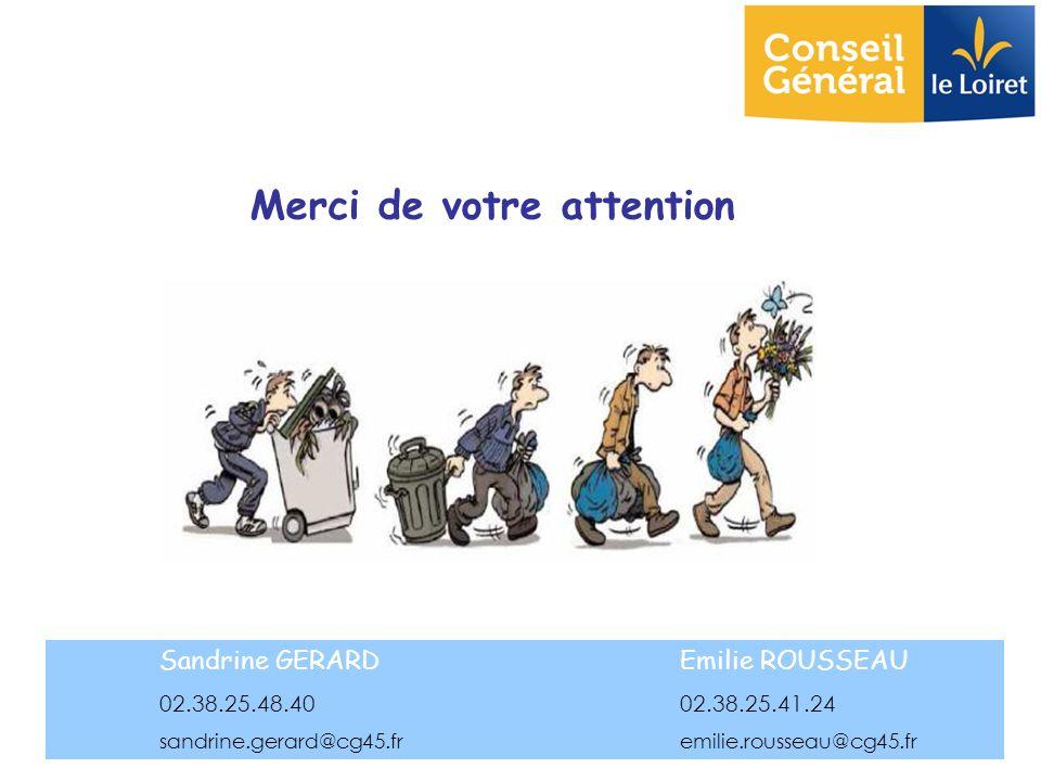 Merci de votre attention Sandrine GERARDEmilie ROUSSEAU 02.38.25.48.40 02.38.25.41.24 sandrine.gerard@cg45.fremilie.rousseau@cg45.fr