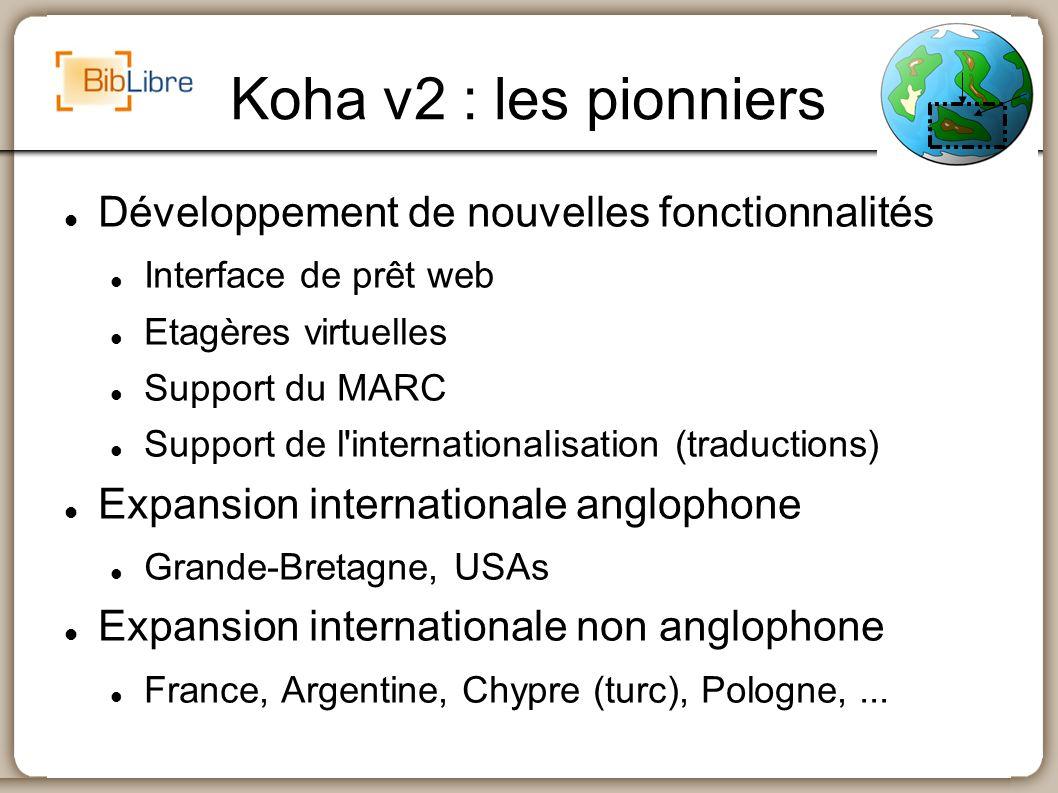 Koha v2 : les pionniers Développement de nouvelles fonctionnalités Interface de prêt web Etagères virtuelles Support du MARC Support de l'internationa