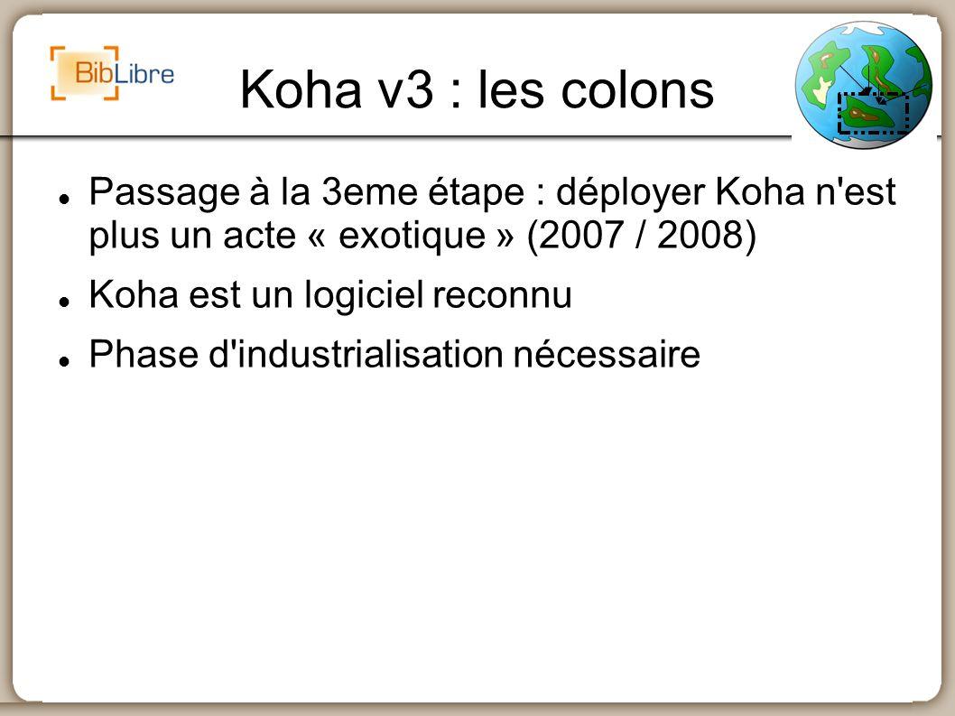 Koha v3 : les colons Passage à la 3eme étape : déployer Koha n'est plus un acte « exotique » (2007 / 2008) Koha est un logiciel reconnu Phase d'indust