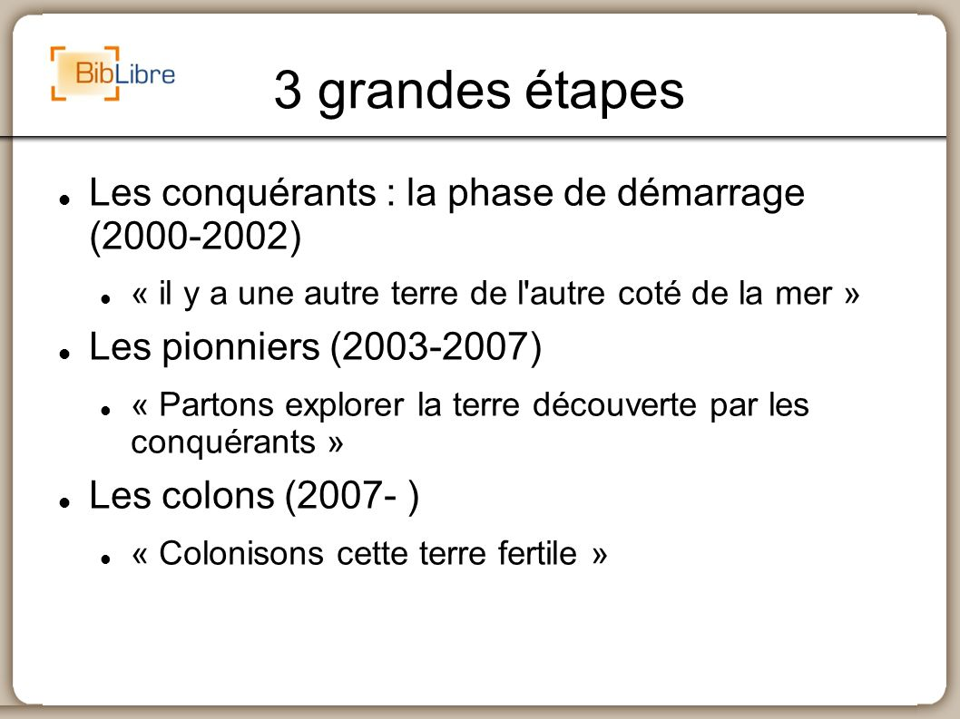 3 grandes étapes Les conquérants : la phase de démarrage (2000-2002) « il y a une autre terre de l'autre coté de la mer » Les pionniers (2003-2007) «