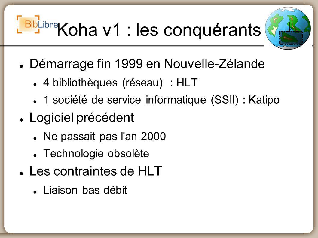 Koha v1 : les conquérants Démarrage fin 1999 en Nouvelle-Zélande 4 bibliothèques (réseau) : HLT 1 société de service informatique (SSII) : Katipo Logi