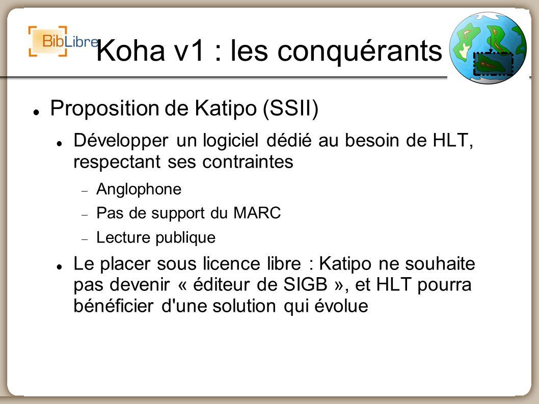 Koha v1 : les conquérants Version 1 : 1er janvier 2000 Logiciel développé en 3-4 mois Passage en production le 2 janvier 2000 Module circulation par interface telnet, autres modules par interface web
