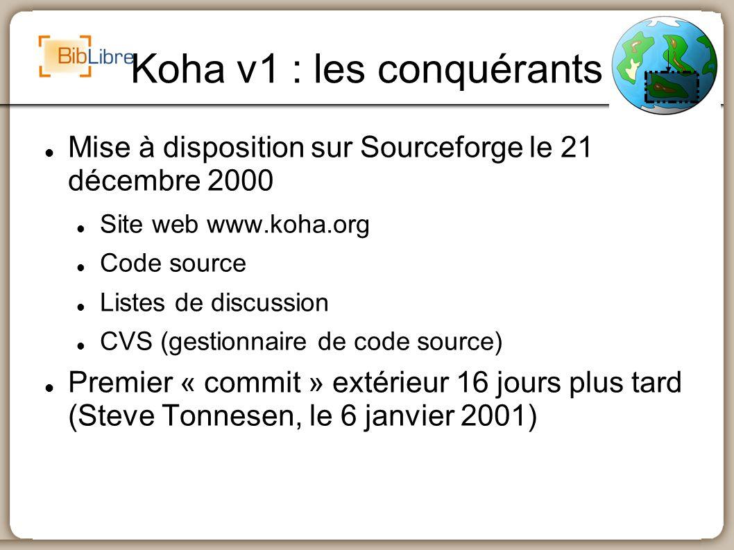 Koha v1 : les conquérants Mise à disposition sur Sourceforge le 21 décembre 2000 Site web www.koha.org Code source Listes de discussion CVS (gestionna