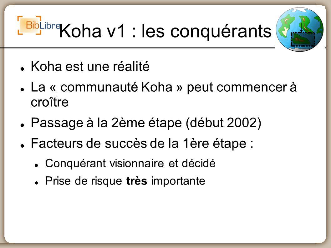 Koha v2 : les pionniers Mise en place de nouveaux outils Documentation et wiki (mars 2002) Chat (irc, avril 2002) bugzilla (juin 2002) L infrastructure attire de nouveaux développeurs