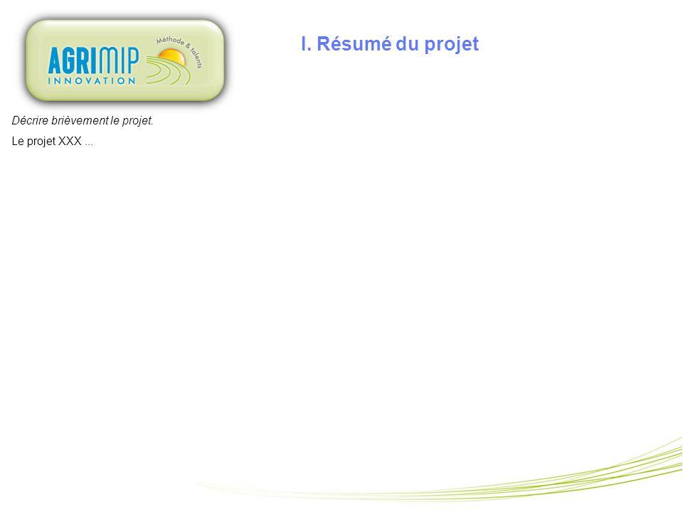 I. Résumé du projet Décrire brièvement le projet. Le projet XXX...