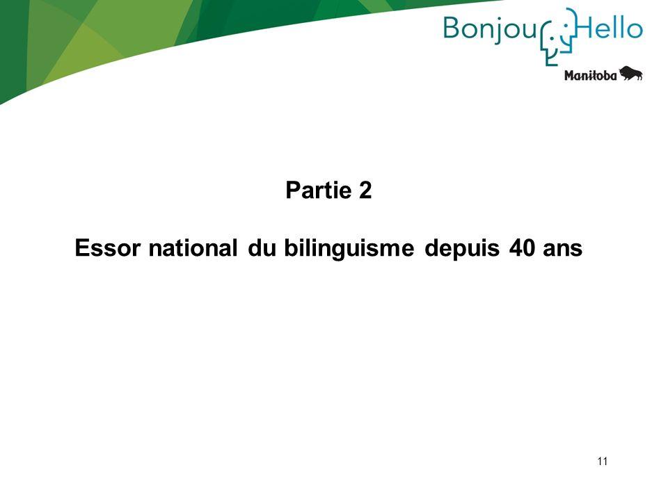 11 Partie 2 Essor national du bilinguisme depuis 40 ans 11