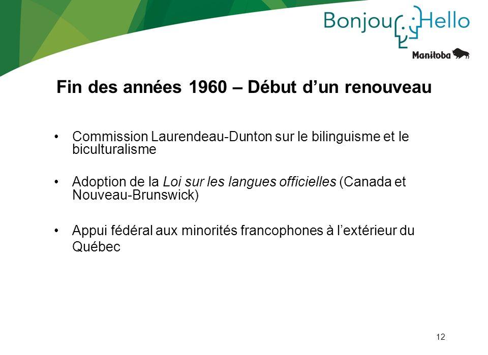 12 Commission Laurendeau-Dunton sur le bilinguisme et le biculturalisme Adoption de la Loi sur les langues officielles (Canada et Nouveau-Brunswick) A