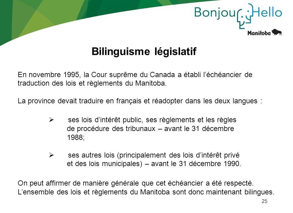 25 Bilinguisme législatif En novembre 1995, la Cour suprême du Canada a établi léchéancier de traduction des lois et règlements du Manitoba. La provin