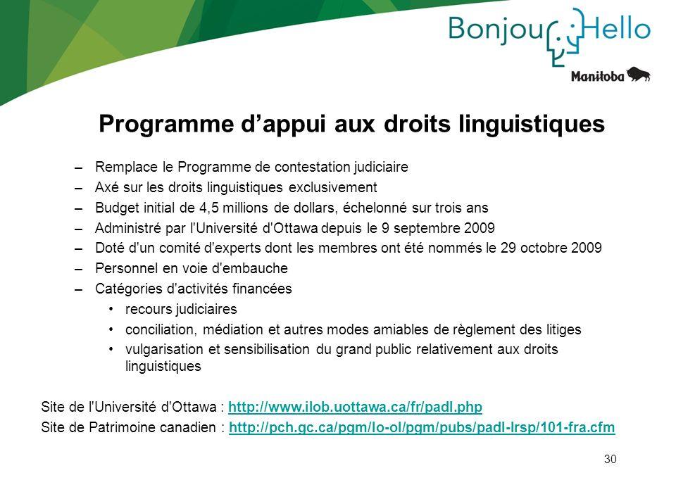 30 Programme dappui aux droits linguistiques –Remplace le Programme de contestation judiciaire –Axé sur les droits linguistiques exclusivement –Budget