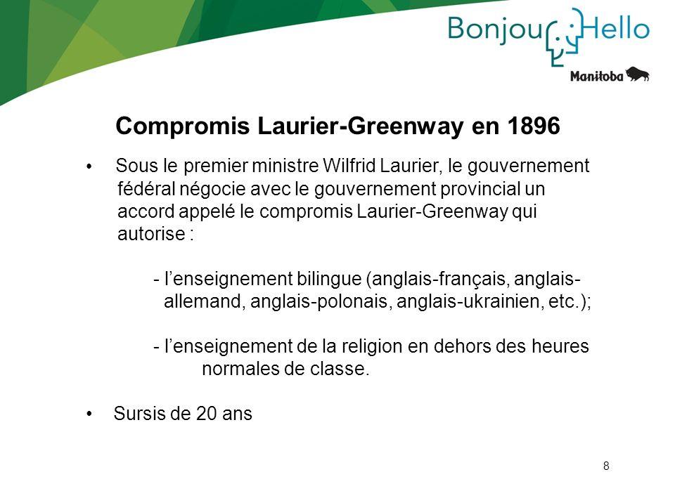 8 Compromis Laurier-Greenway en 1896 8 Sous le premier ministre Wilfrid Laurier, le gouvernement fédéral négocie avec le gouvernement provincial un ac