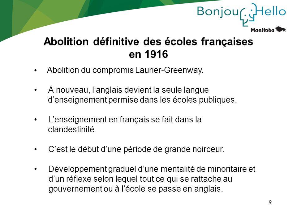 9 Abolition définitive des écoles françaises en 1916 Abolition du compromis Laurier-Greenway. À nouveau, langlais devient la seule langue denseignemen