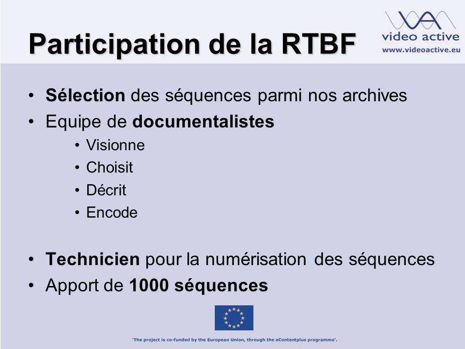 Participation de la RTBF Sélection des séquences parmi nos archives Equipe de documentalistes Visionne Choisit Décrit Encode Technicien pour la numérisation des séquences Apport de 1000 séquences