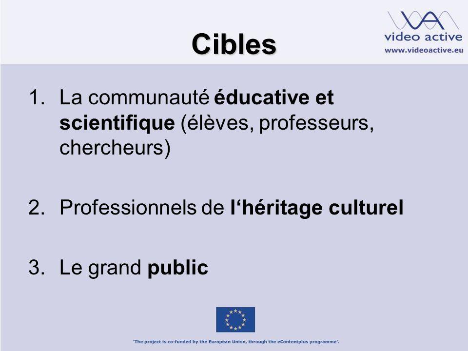 Cibles 1.La communauté éducative et scientifique (élèves, professeurs, chercheurs) 2.Professionnels de lhéritage culturel 3.Le grand public