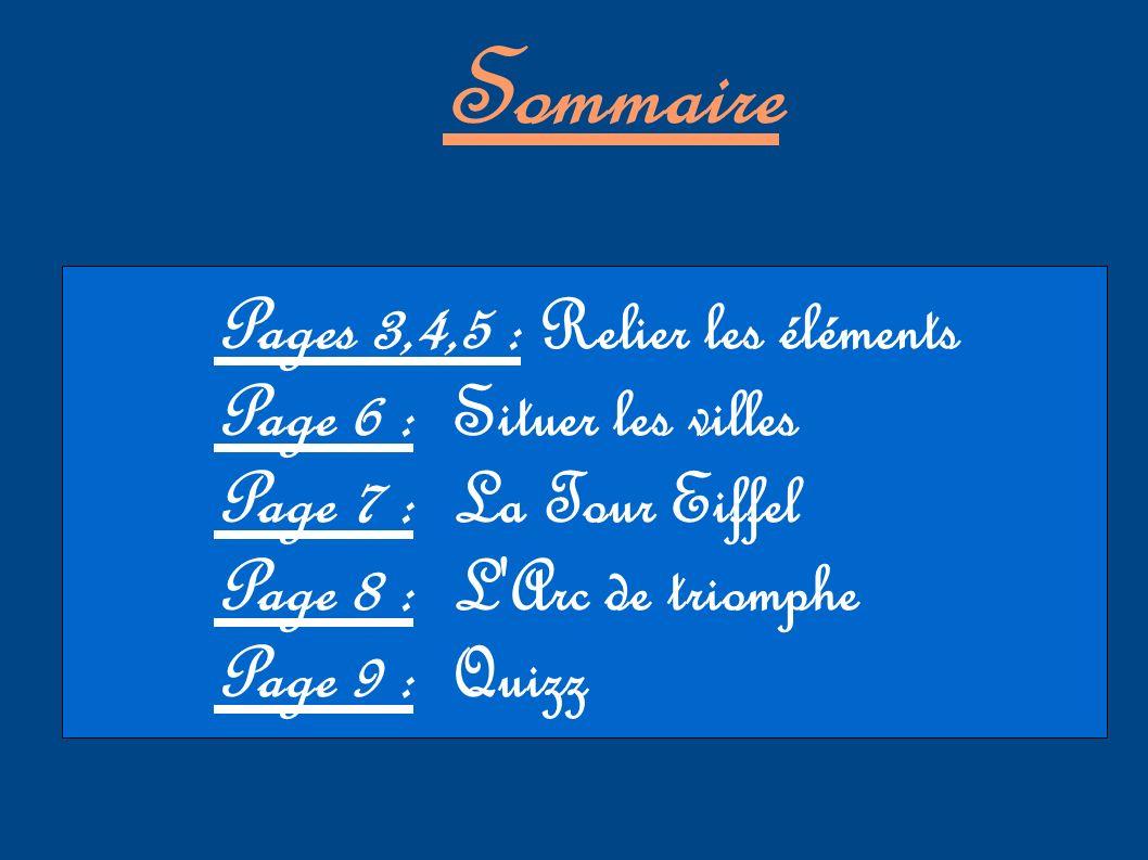 Sommaire Pages 3,4,5 : Relier les éléments Page 6 : Situer les villes Page 7 : La Tour Eiffel Page 8 : L'Arc de triomphe Page 9 : Quizz
