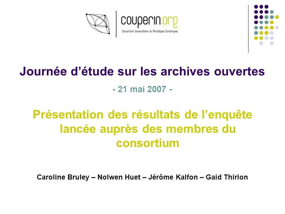 Journée détude sur les archives ouvertes - 21 mai 2007 - Présentation des résultats de lenquête lancée auprès des membres du consortium Caroline Brule