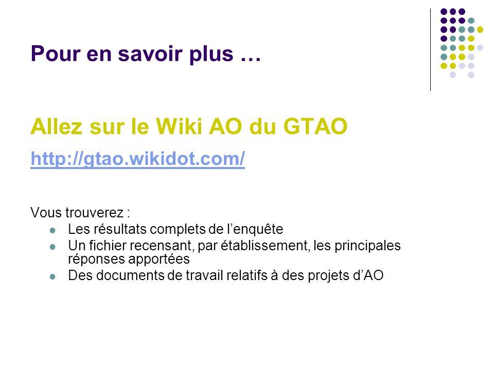 Pour en savoir plus … Allez sur le Wiki AO du GTAO http://gtao.wikidot.com/ Vous trouverez : Les résultats complets de lenquête Un fichier recensant,