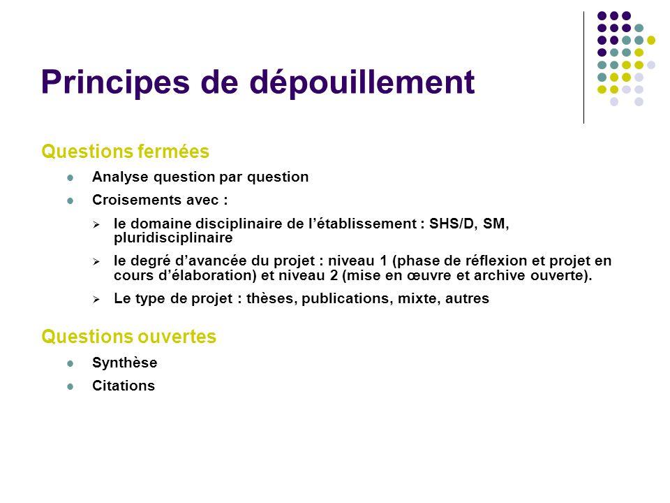Principes de dépouillement Questions fermées Analyse question par question Croisements avec : le domaine disciplinaire de létablissement : SHS/D, SM,
