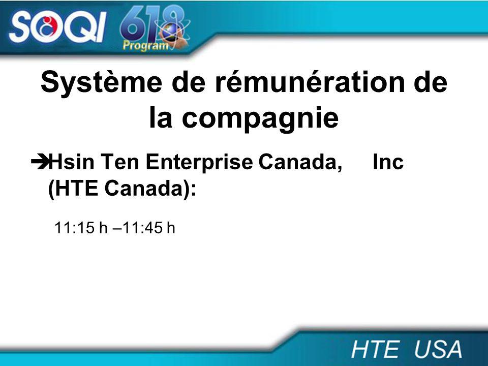 Système de rémunération de la compagnie Hsin Ten Enterprise Canada, Inc (HTE Canada): 11:15 h –11:45 h