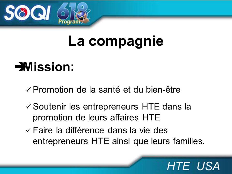 La compagnie Mission: Promotion de la santé et du bien-être Soutenir les entrepreneurs HTE dans la promotion de leurs affaires HTE Faire la différence