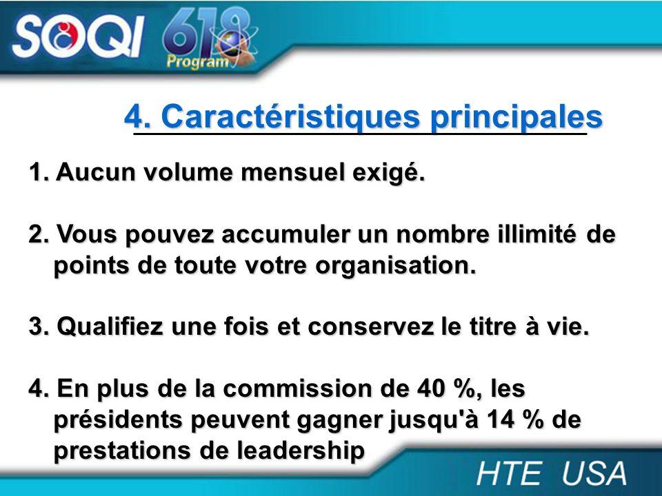 4. Caractéristiques principales 1. Aucun volume mensuel exigé. 2. Vous pouvez accumuler un nombre illimité de points de toute votre organisation. 3. Q
