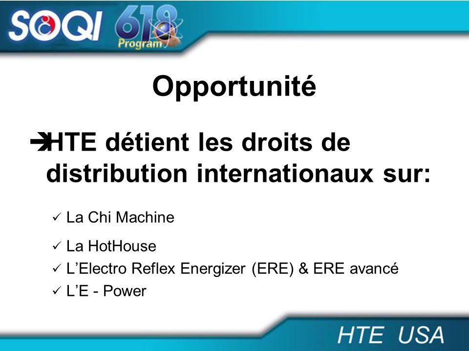 Opportunité HTE Canada détient la norme ISO 13485:2003: Homologué par santé Canada Assure la sécurité et lefficacité Soutien les distributeurs selon la règlementation de Santé Canada