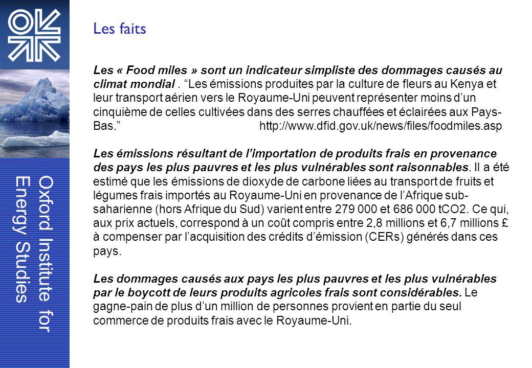 Oxford Institute forEnergy Studies Les faits Les « Food miles » sont un indicateur simpliste des dommages causés au climat mondial. Les émissions prod