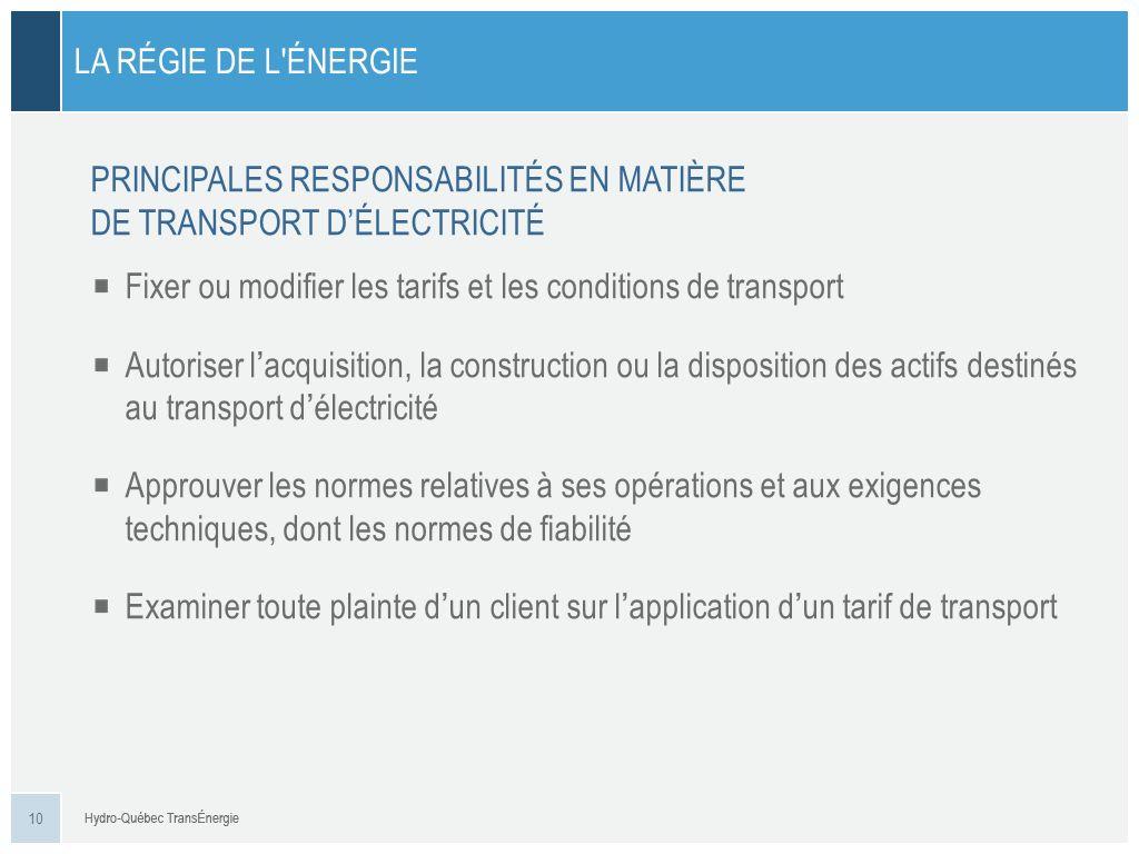 LA RÉGIE DE L'ÉNERGIE PRINCIPALES RESPONSABILITÉS EN MATIÈRE DE TRANSPORT DÉLECTRICITÉ 10 Fixer ou modifier les tarifs et les conditions de transport
